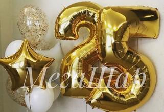 № 3.32. Гелиевая цифра 690р.\шт. Фонтан из воздушных шаров: три белых шарика, два с конфетти и две звезды. Стоимость фонтана с обработкой - 732р.
