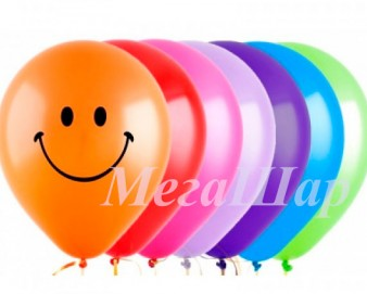 """№ 10.305. Гелиевые шары цветные """"Смайлы"""", стоимость с обработкой - 74р., без обработки - 64р."""